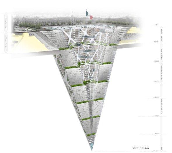Un rascacielos invertido en el zócalo de la Ciudad de México