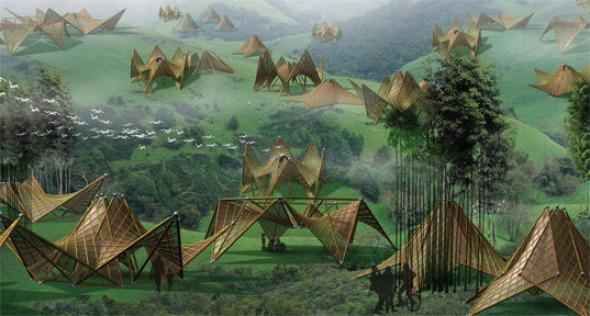 Después de la catástrofe: Innovadoras arquitecturas plegables de bambú y papel