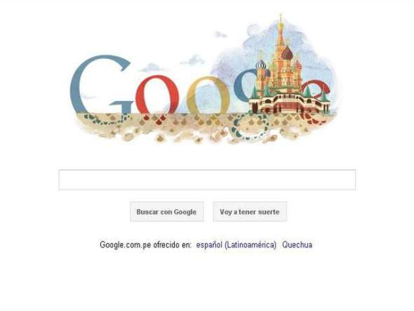 Catedral de San Basilio llena de color el Google doodle
