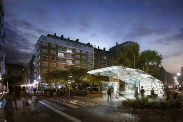 El equipo noruego Snohetta diseñará las bocas del Metro de Donostialdea. El jurado elige una marquesina de acero y vidrio con forma de coral que se co
