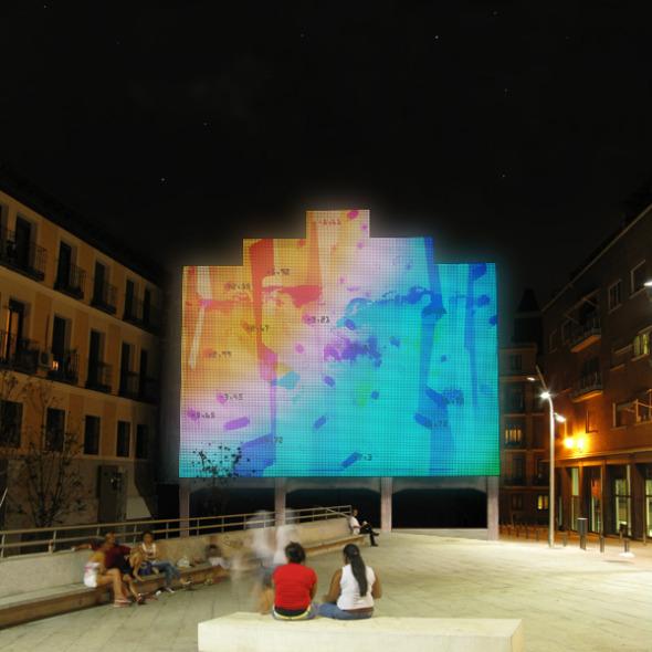 Hacer de los aburridos muros de colindancia una obra de arte: Led Action Facade, Madrid. Langarita-Navarro Arquitectos.