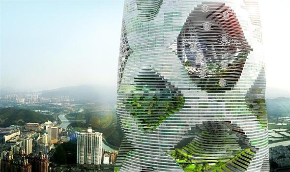 """Logistic City"" un enorme bosque vertical en Shenzhen. Julien de Smedt Architects"