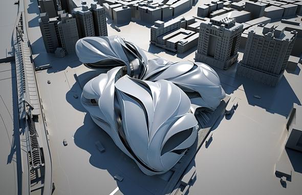 Concepto de ondas de sonido 3D en el Centro de Artes de Taipei