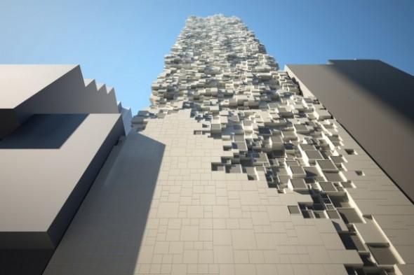 Objetos de la pieza de un hotel dan forma a su fachada