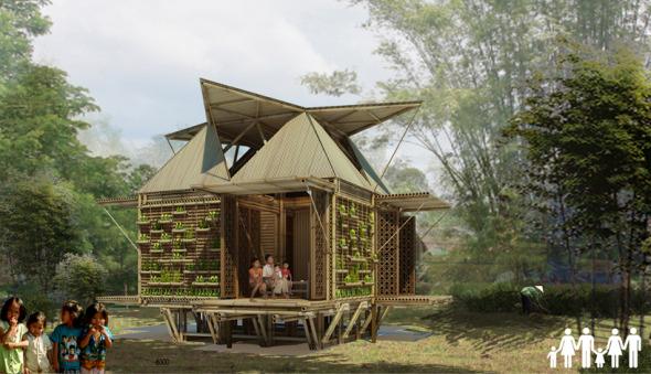 Vivienda económica de bambú