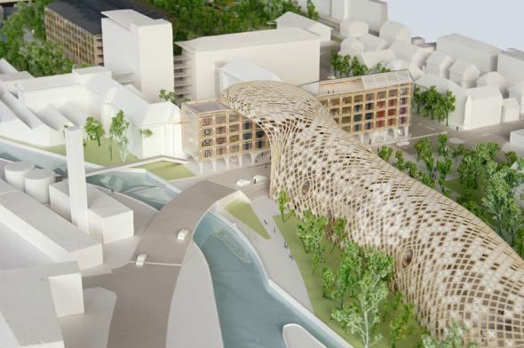 Shigeru Ban diseña edificio de madera para la marca Swatch