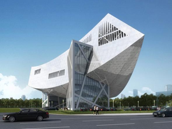 La nave de acero de Libeskind en construcción