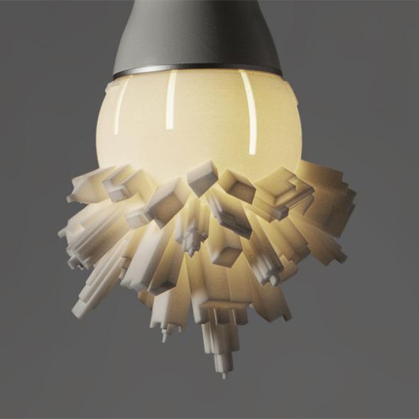 Lámpara LED con moderno paisaje urbano