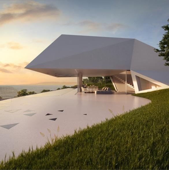 Casa futurista en la playa