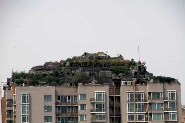 La cima de la montaña en un edificio