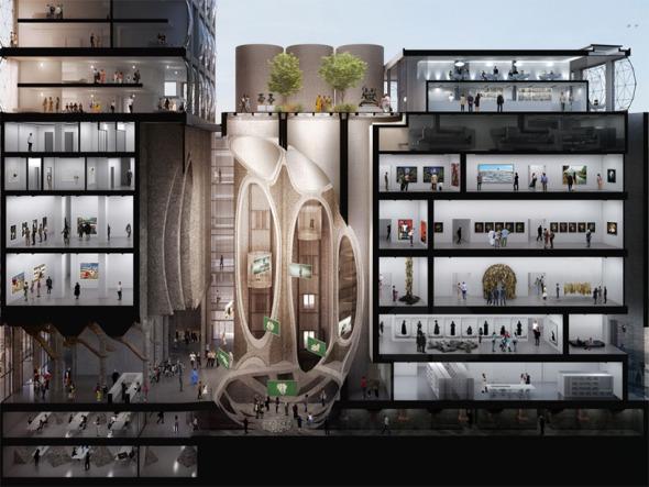 Museo atravesado por tubos de concreto