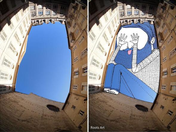 Sky Art. Toman como marco edificios para pinturas