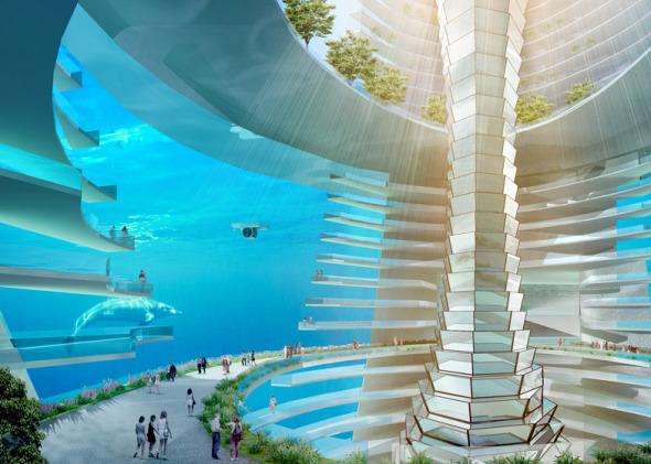 La Ciudad Flotante con calles bajo el agua y submarinos