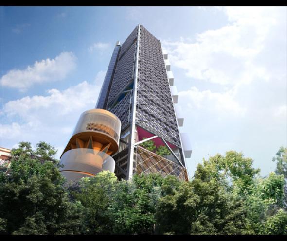 Se coloca la última viga de la Torre BBVA