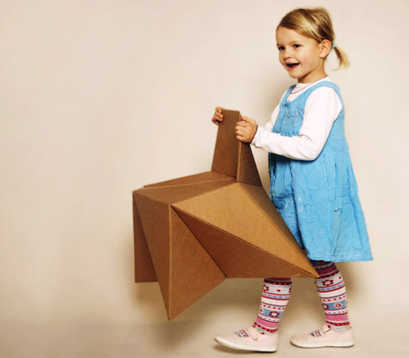 Muebles de cartón estilo origami
