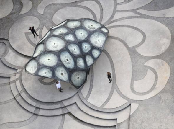 Pabellón de fibra de carbono basado en el caparazón de un escarabajo