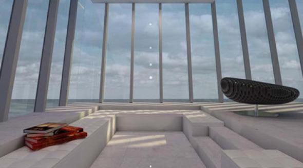 Residencia modular que colgaría de un precipicio