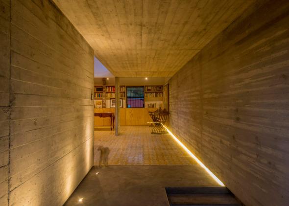 Tunel de concreto en casa colonial en Cuernavaca