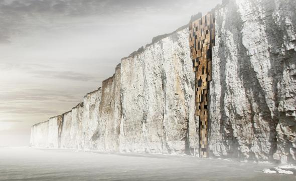 Viviendas sobre las rocas de los acantilados