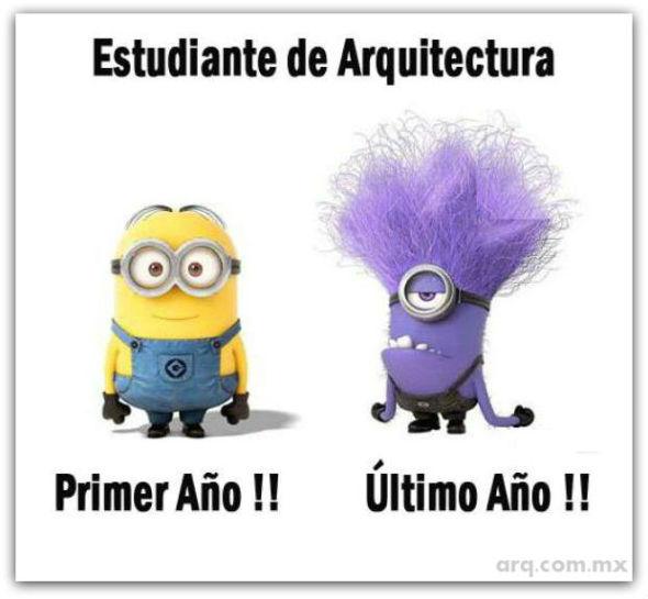 Humor en la Arquitectura. Etapas Minion de Estudiantes de Arquitectura