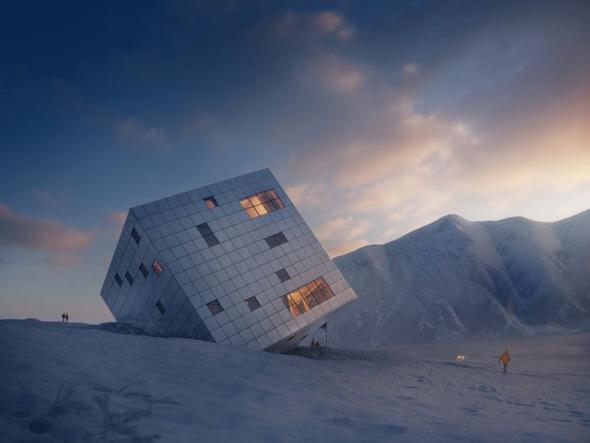 Casa de campo en forma de cubo