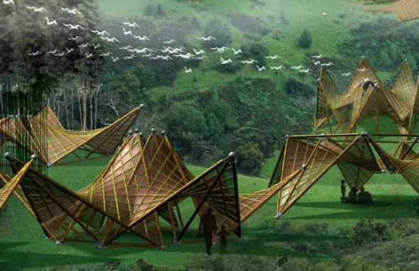 Después del desastre. Innovadoras arquitecturas plegables de bambú y papel