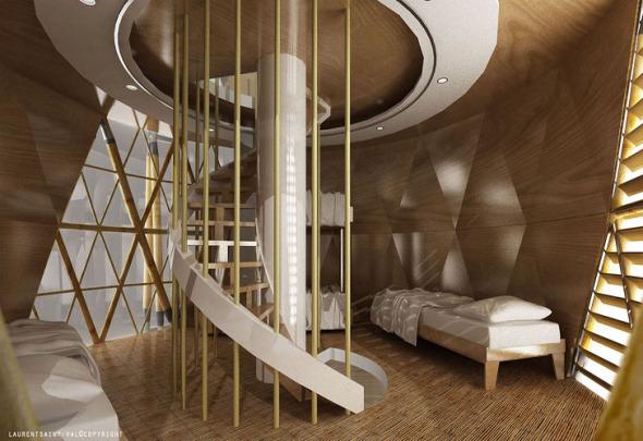 Casas de bambú muy contemporáneas