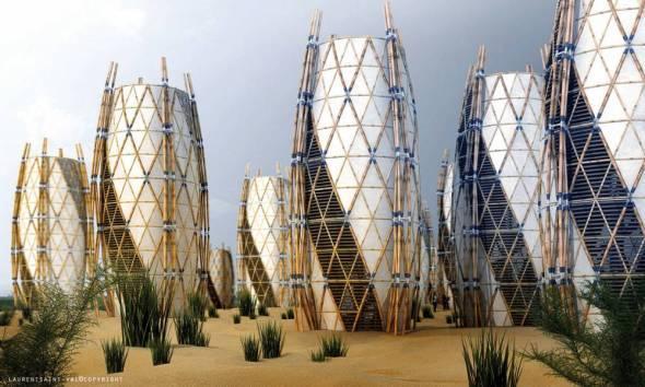 Estructuras de bambú, tela y vidrio para vivir