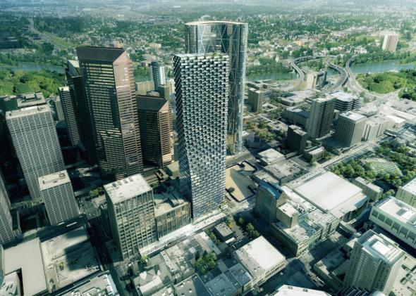 El curvilíneo rascacielos Calgary de BIG comienza sus obras junto a la Bow Tower de Foster and Partners