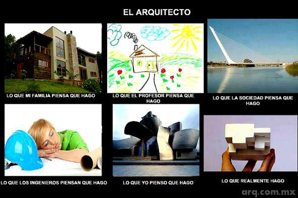 Humor en la arquitectura. Lo que creen que hace el arquitecto