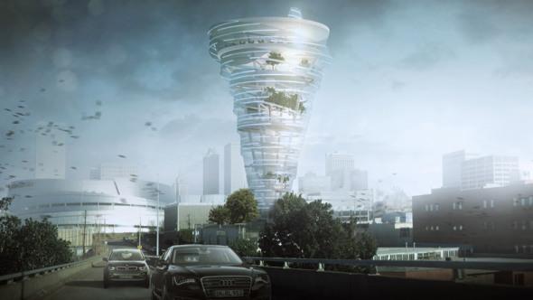 Rascacielos con forma de tornado