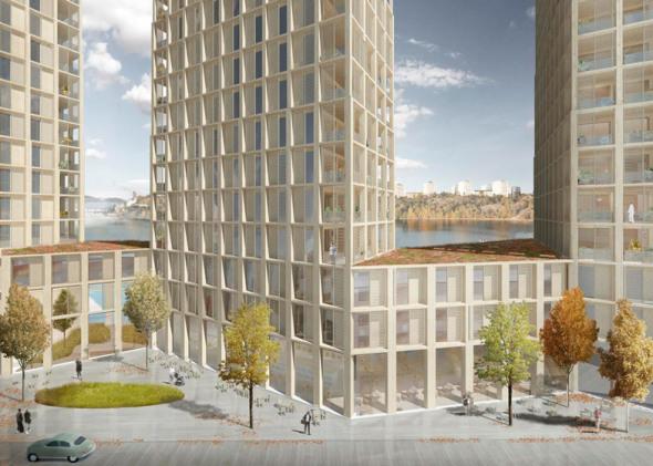 Tham y Videgard diseña torres residenciales de madera frente al mar en Estocolmo