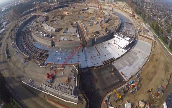 Así construyen el campus nave espacial de Apple