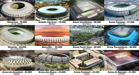 Estadios mundialistas en Brasil siguen en construcción