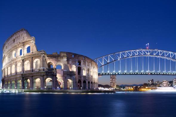 Edificios icono de la arquitectura son juntados digitalmente