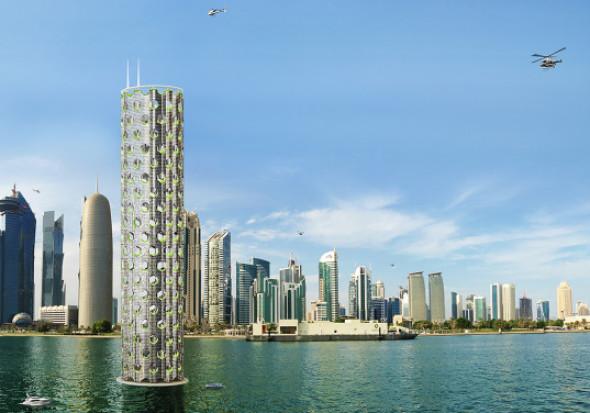 Ciudad vertical sustentable en torre modular