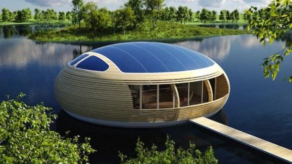 Waternest 100. Vivienda flotante de madera con energía solar