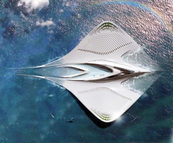 Ciudad flotante con capacidad para 7,000 personas en forma de mantarraya