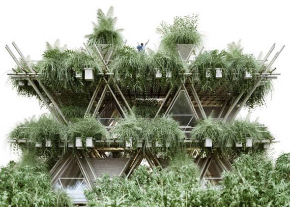 Una ciudad de bambú, ecológica y lista para armar