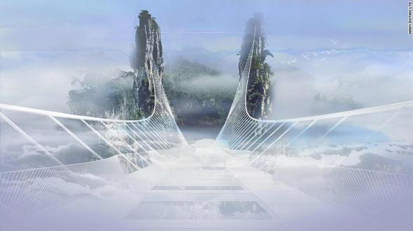 Grietas en el puente de cristal más largo del mundo