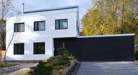 Arquitectura contemporánea con fardos de paja