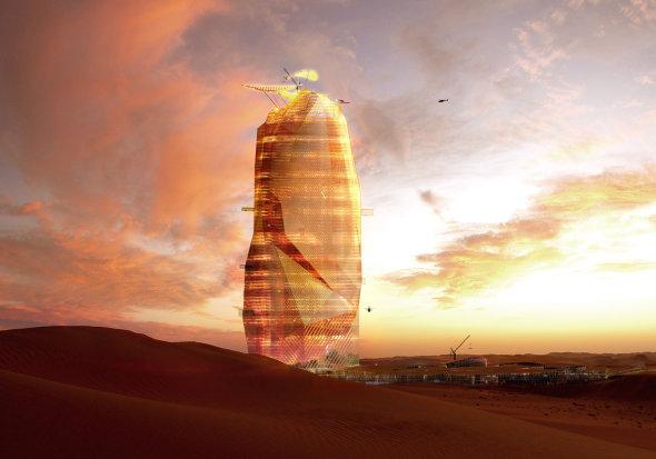 Un rascacielos dentro de otro rascacielos en el desierto del Sahara