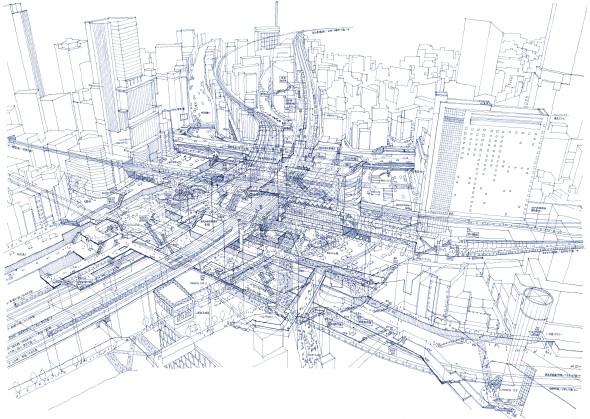 Impresionantes Ilustraciones de Rayos X de las Estaciones de tren de Tokio