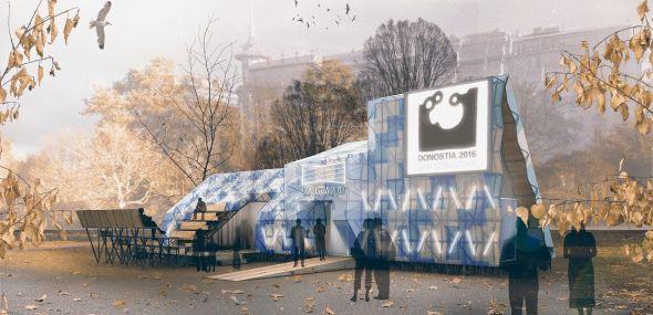 Pabellón reciclado en 278 bancos