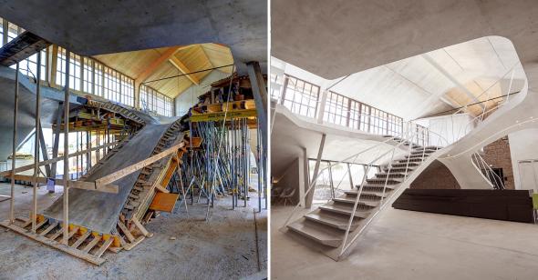 Loft con escalera escultural de concreto