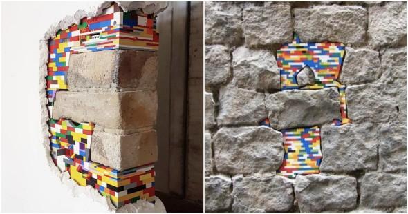 El artista que repara grietas con LEGOS
