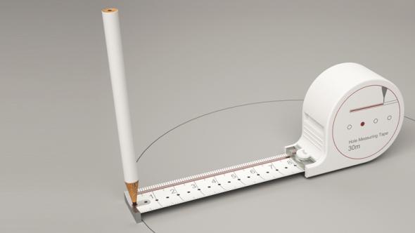 Un flexómetro para medir, dibujar líneas rectas y círculos