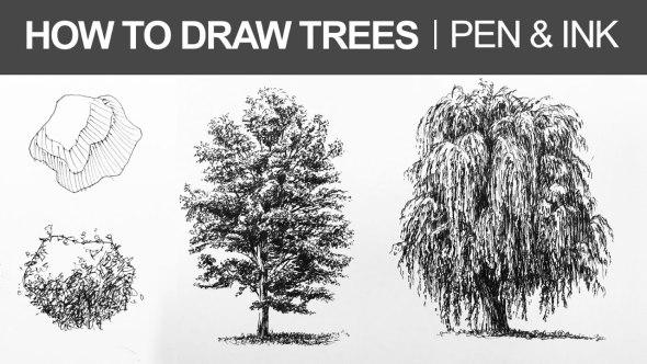Aprende a dibujar árboles con estilógrafo o plumín