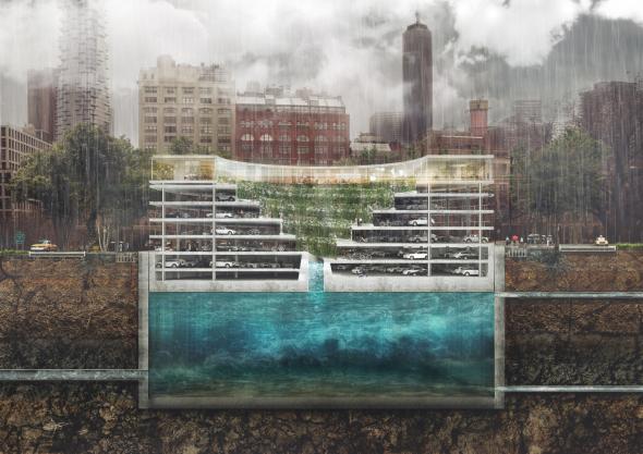Edificio todo en uno: jardín, estacionamiento y depósito de agua