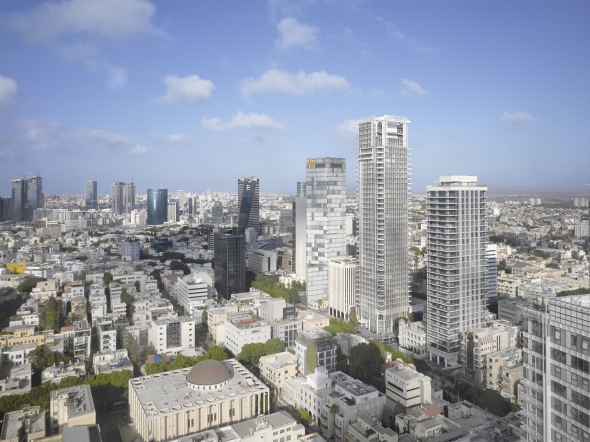 ¿De qué color es la torre de Richard Meier en Tel Aviv?